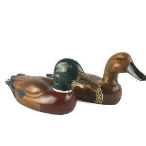 Set of 2 Carved Solid Wooden Duck Decoys Mallard